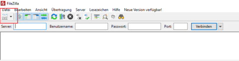 Filezilla Servermanager aufrufen