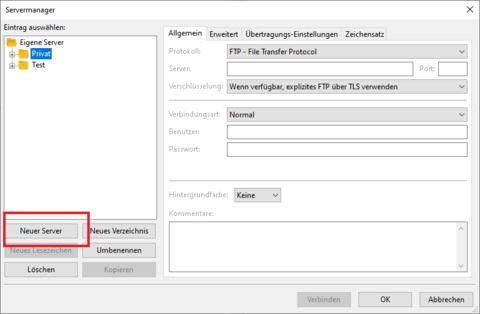 Filezilla neuen Server anlegen
