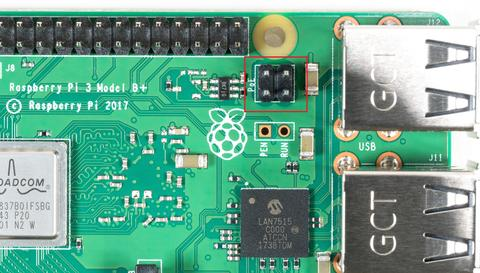 Die PoE Pins auf Raspberry Pi 3 Model B+
